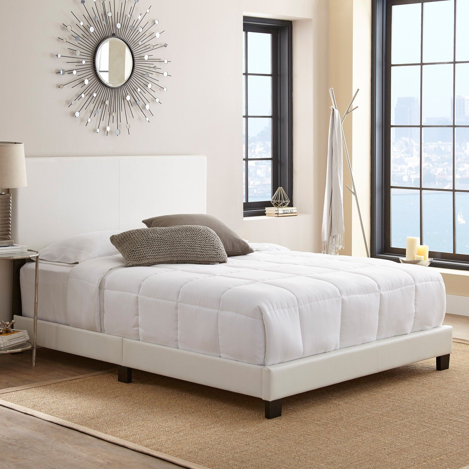 Pure Posture Greyson Panel Bed White, Size Full Leather