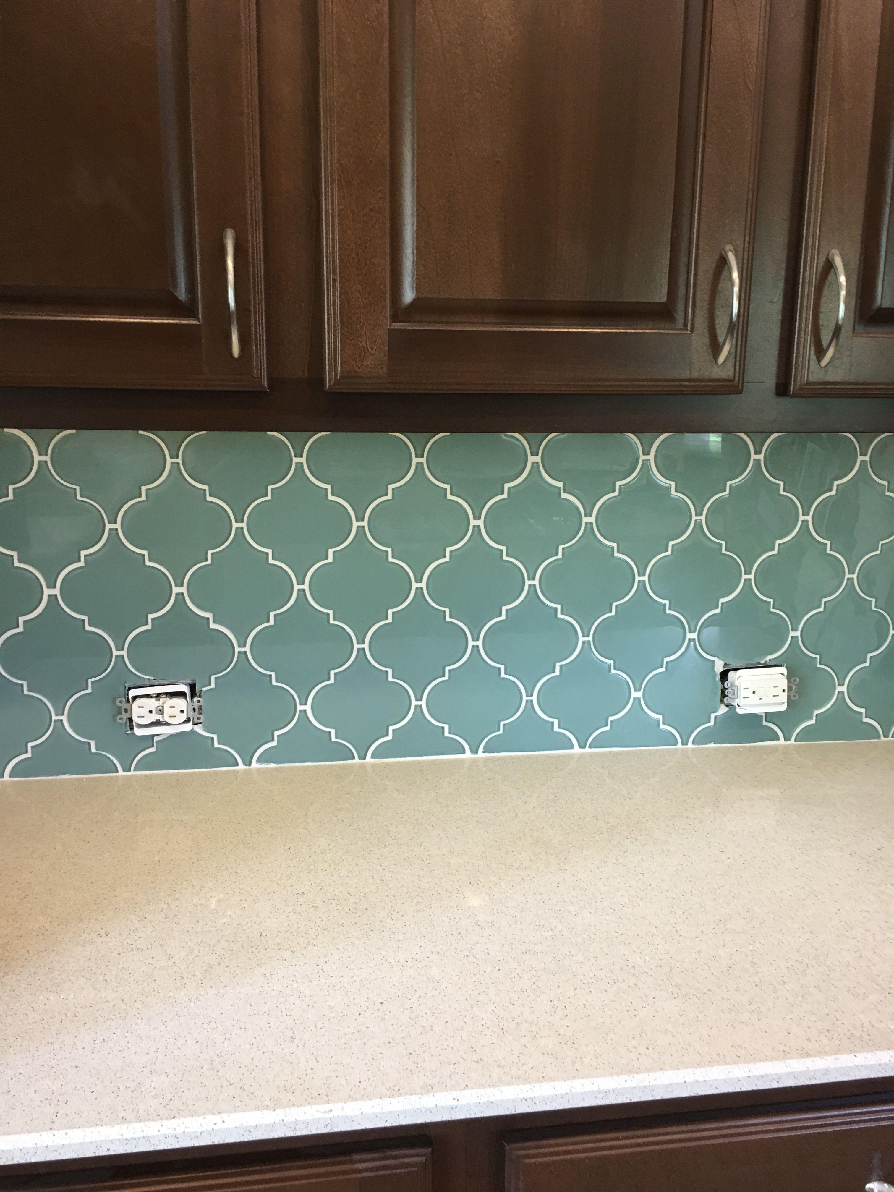 Rocky Point Tile Bring A Touch Of Elegance To Your New New Kitchen Backsplash Or Bathroom With Arabesque Tile Backsplash Aqua Glass Tiles Glass Mosaic Tiles