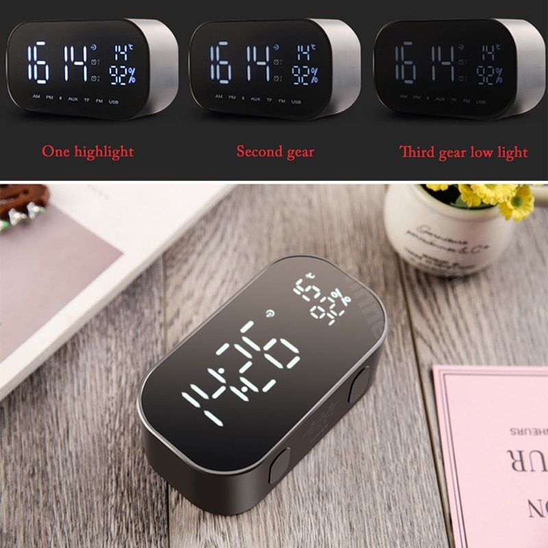 Digital Alarm Clock Bluetooth Speaker