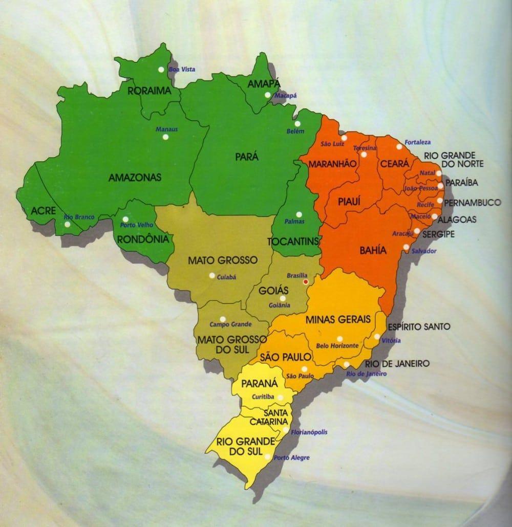 Mapa Do Brasil Colorido Para Imprimir Com Imagens Estados E