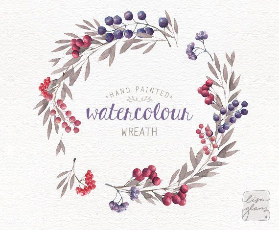 watercolor wreath hand painted floral wreath clipart wedding