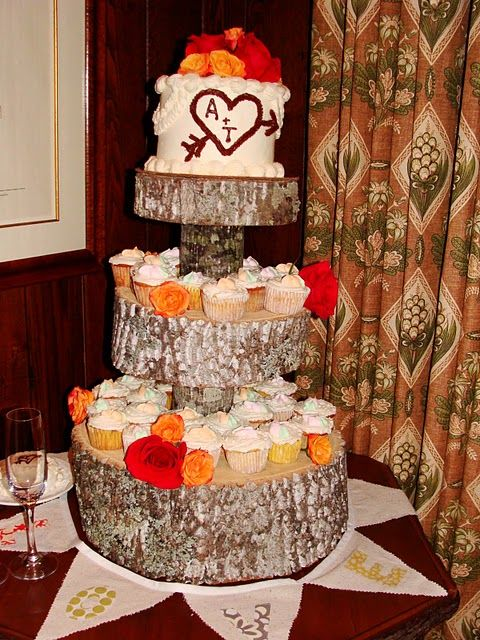 Love this rustic cupcake stand.