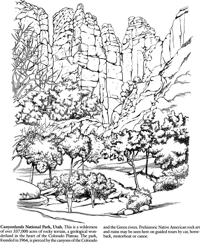 National parks coloring book sample welcome to dover publications National Zoo National Park Graffiti Virginia Park Coloring Pages