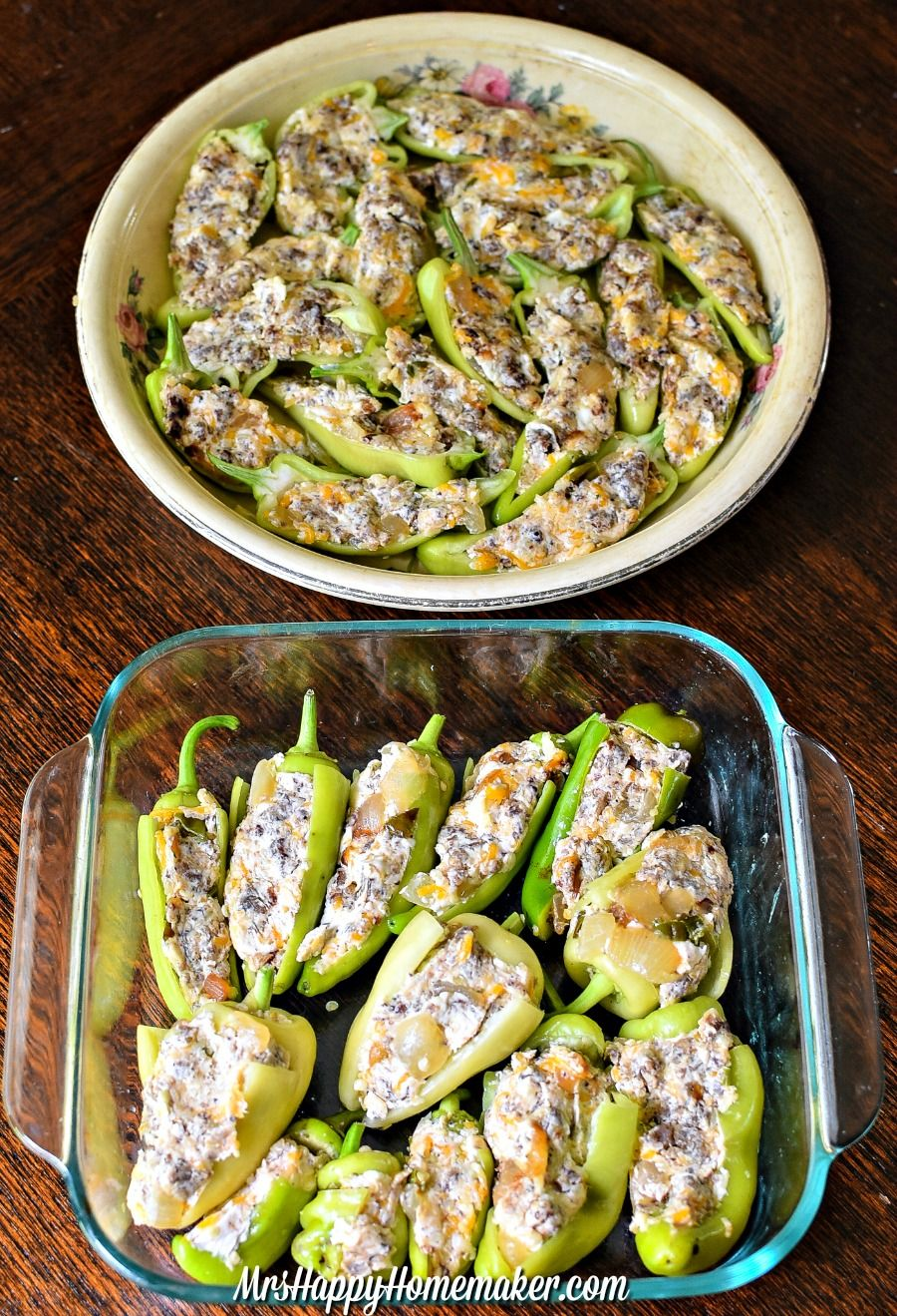 Cheesy Sausage Stuffed Banana Peppers Mrs Happy Homemaker Stuffed Peppers Recipes With Banana Peppers Stuffed Banana Peppers