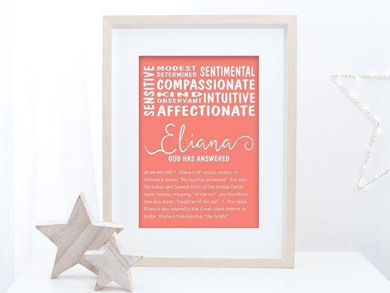 ELIANA | Name meaning print | Custom name sign | Godson gift