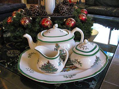 Spode Christmas Tree~ Tea for 50? NO problem Storage? Now that\u0027s a