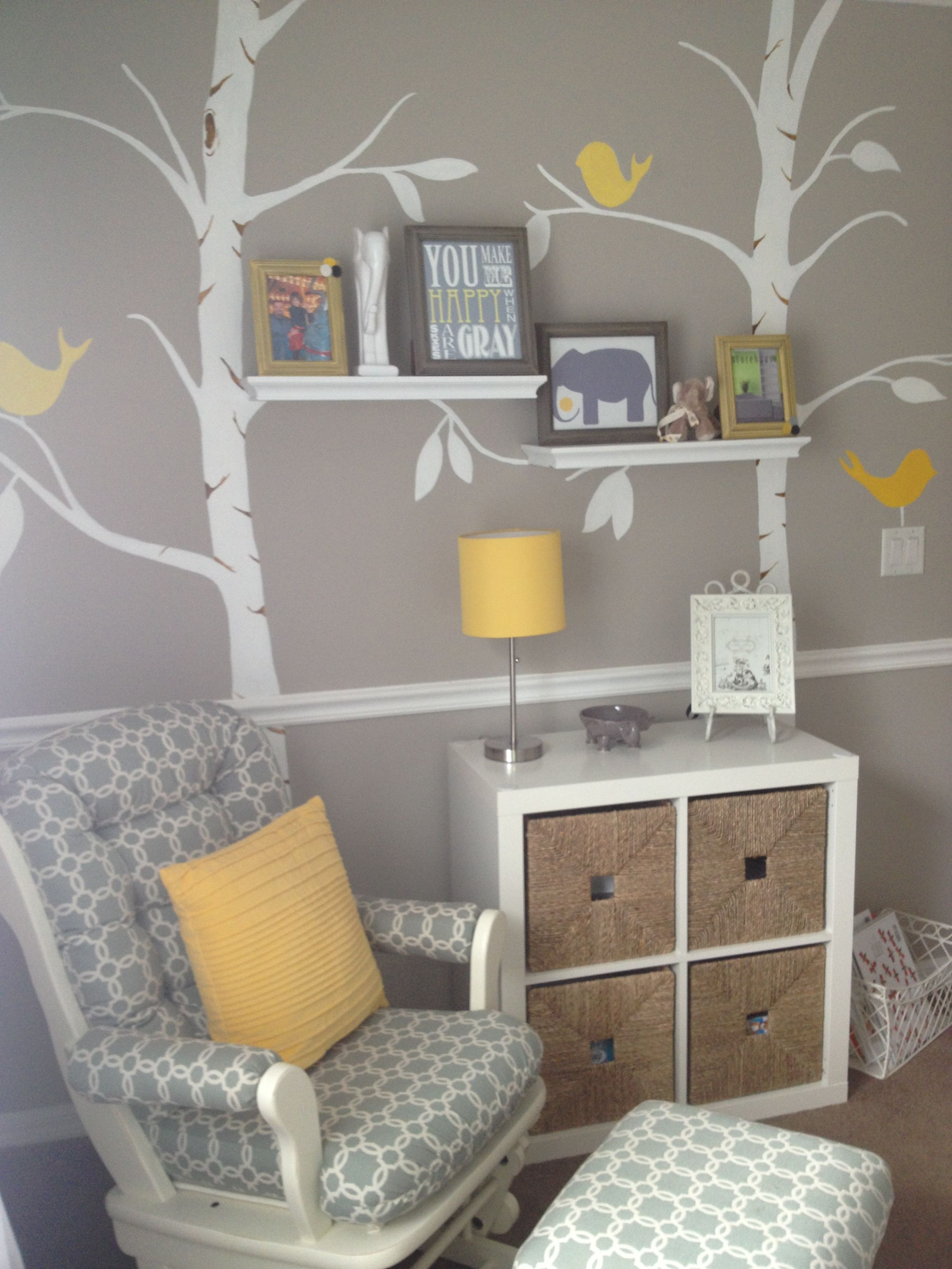 grey and yellow nursery with pottery barn elephants | First ...