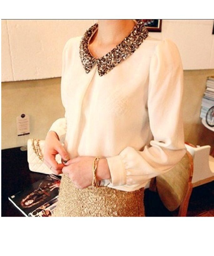 sequin collar blouse