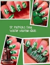 St. Patricks Day Water Marble Nails.