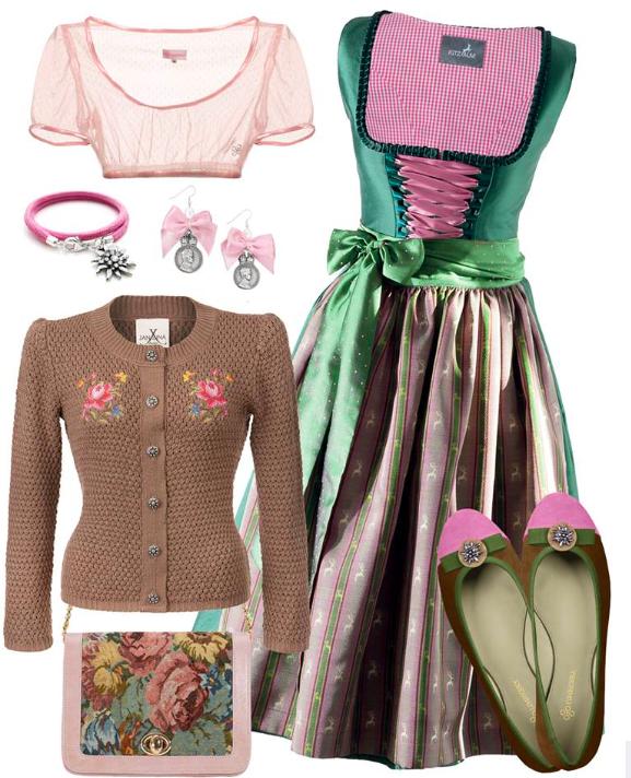 LIMBERRY - Das Kitzalm Dirndl aus Seide trägt genau Deine Farben. Die LIMBERRY Dirndlbluse in einem Hauch rose und der JAN&INA Strickjanker in Muskat-Braun vervollständigen Deinen Look.