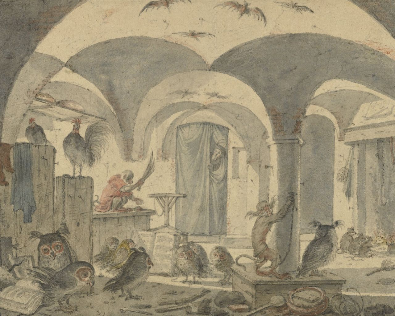 Cornelis Saftleven, An Enchanted Cellar with Animals about 1655 - 1670 /  The J. Paul Getty Museum