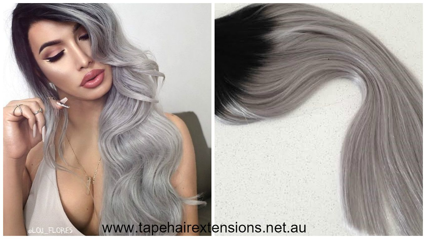 Black To Grey Clip In 200 Gram Ombre Balayage Hair Extensions
