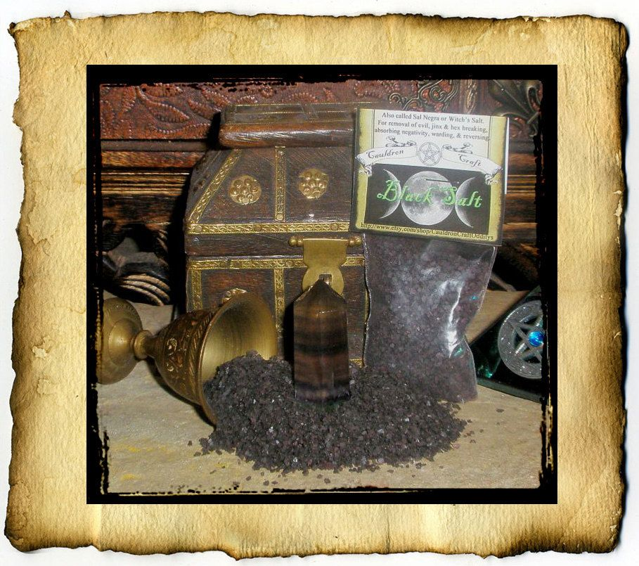 Witches Patchouli Black Salt Ritual Black Salt Sal Negra 2 5 Oz Naturally Dyed And Scented By Grimdeva At Cauldron Craf Witch Book Of Shadows Spiritual Art