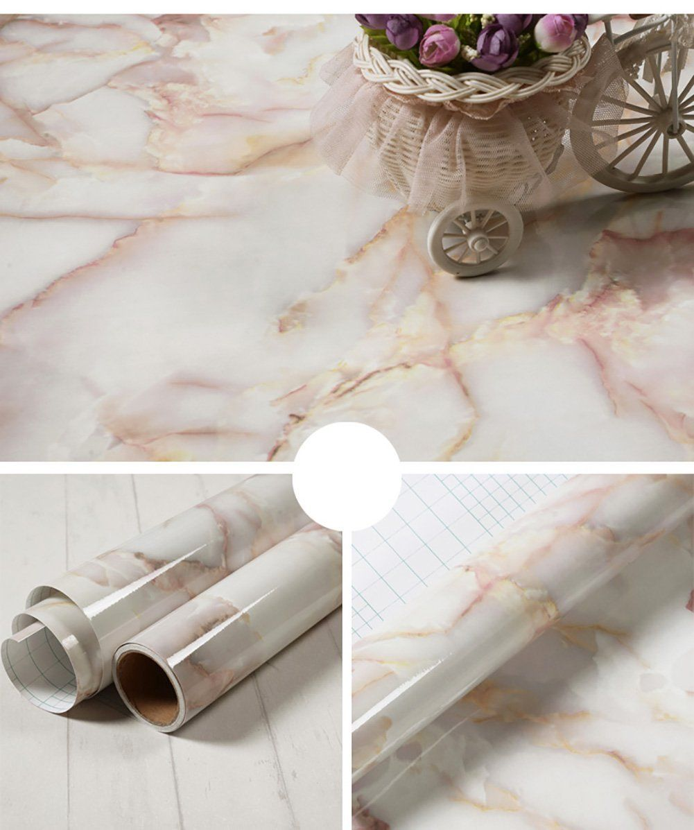 Whitish-yellow Granite Look Marble Effect Contact Paper Film PVC