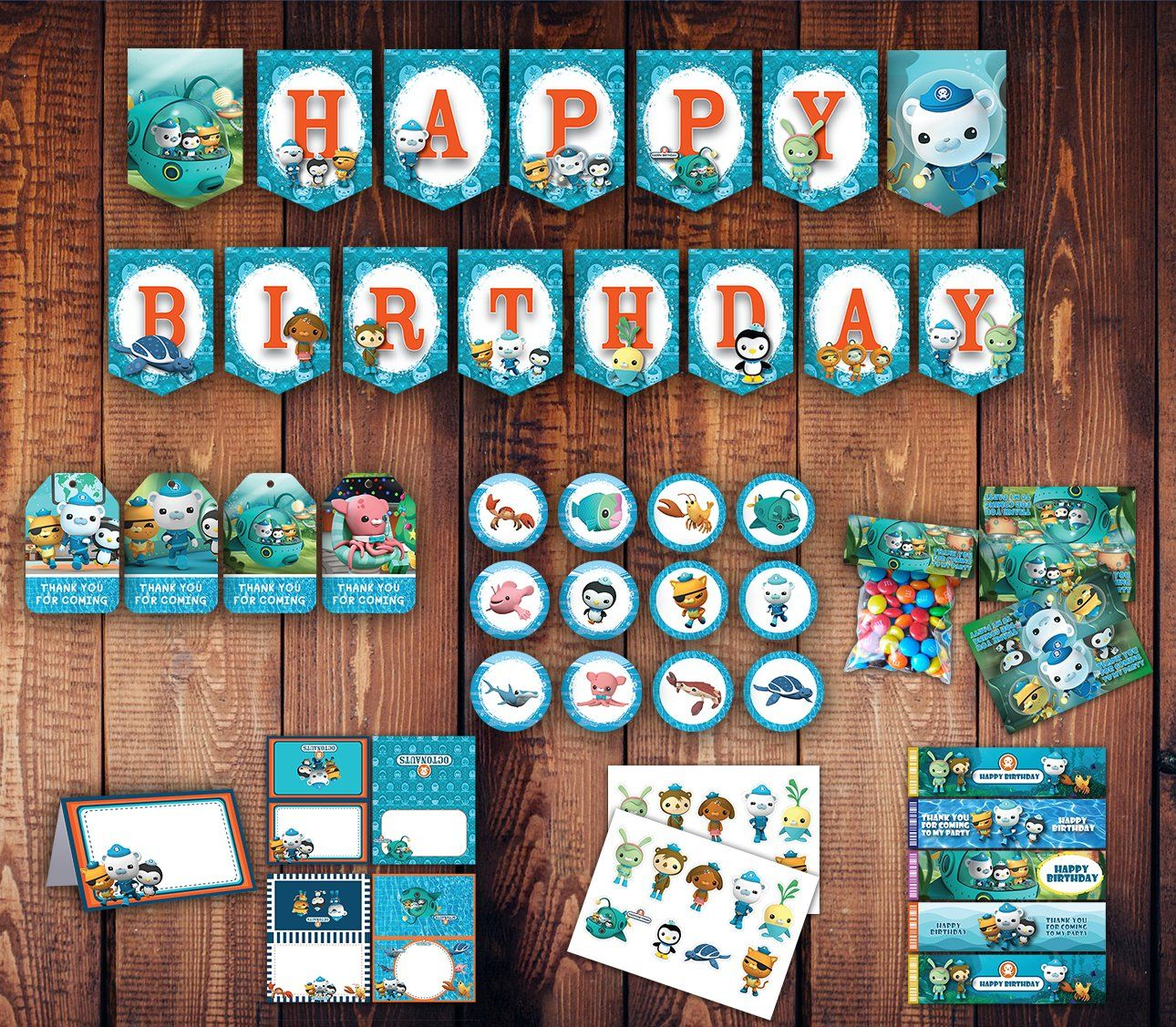 Octonaut Party Package Octonaut Birthday Under Construction Banner Banner Bag Tag Food Water Oct Full Party Packages Octonauts Birthday Birthday