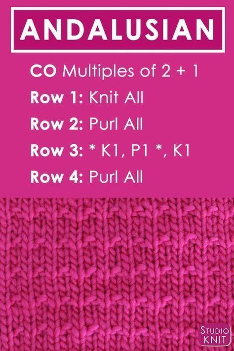 How To Knit The Andalusian Knit Stitch Pattern Knit Stitch