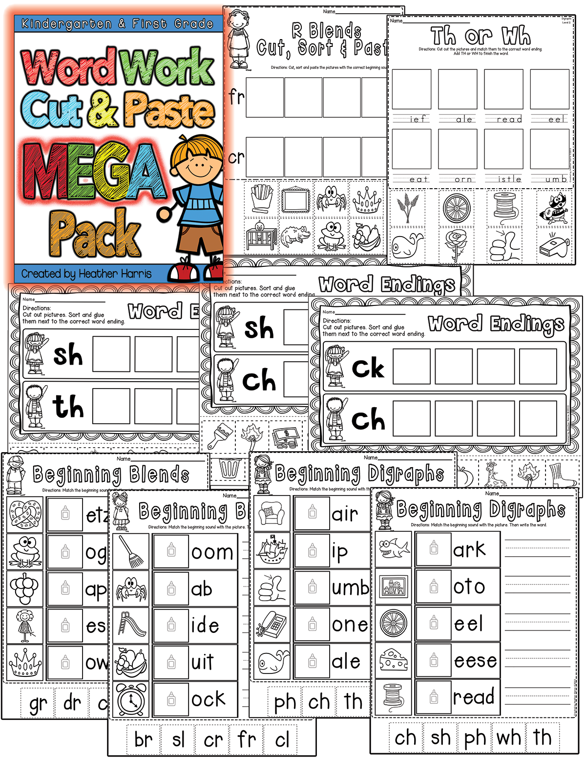 135 Pages Of Cut And Paste Activities For Word Work