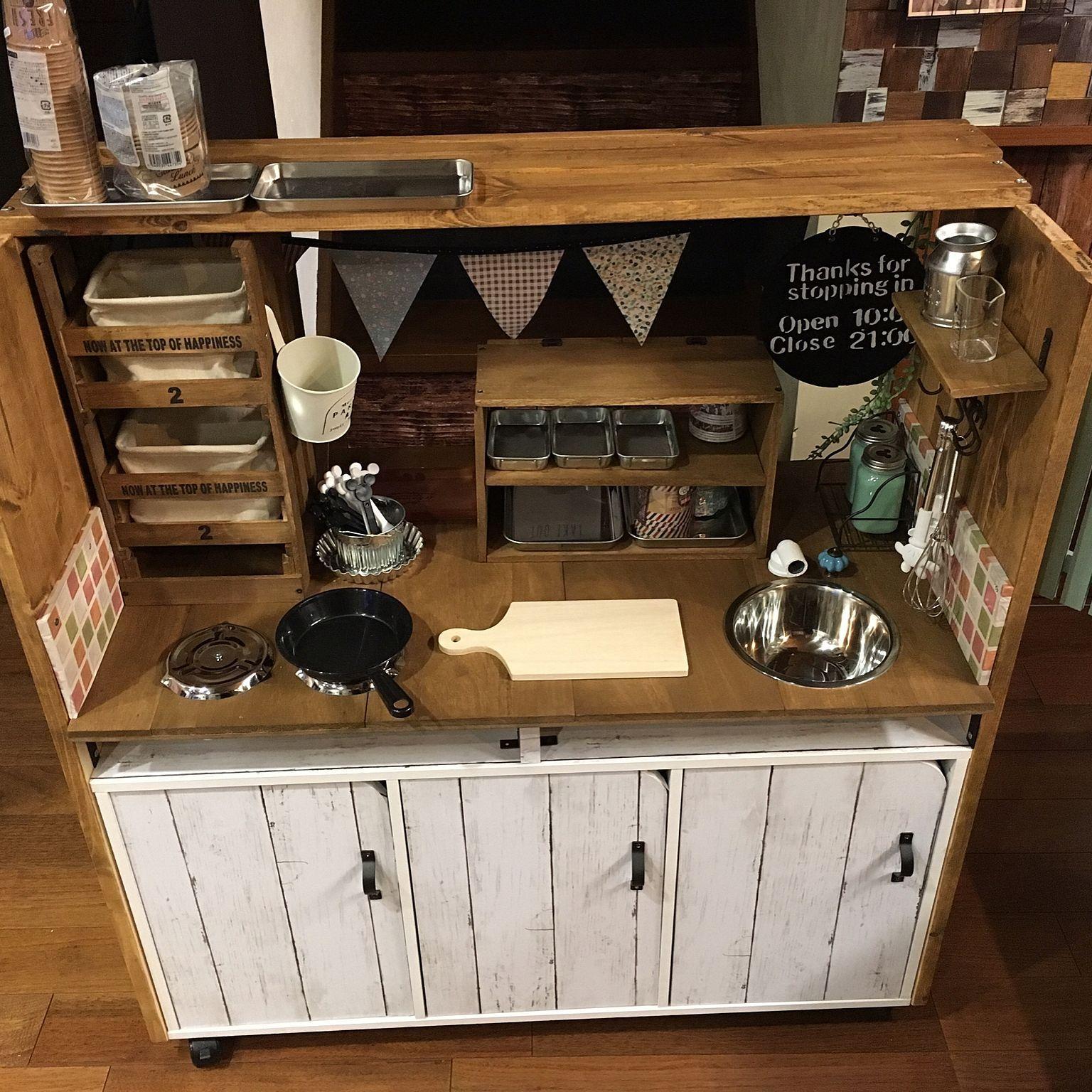 キッチン おままごとキッチンdiy カラーボックス ダイソー セリア