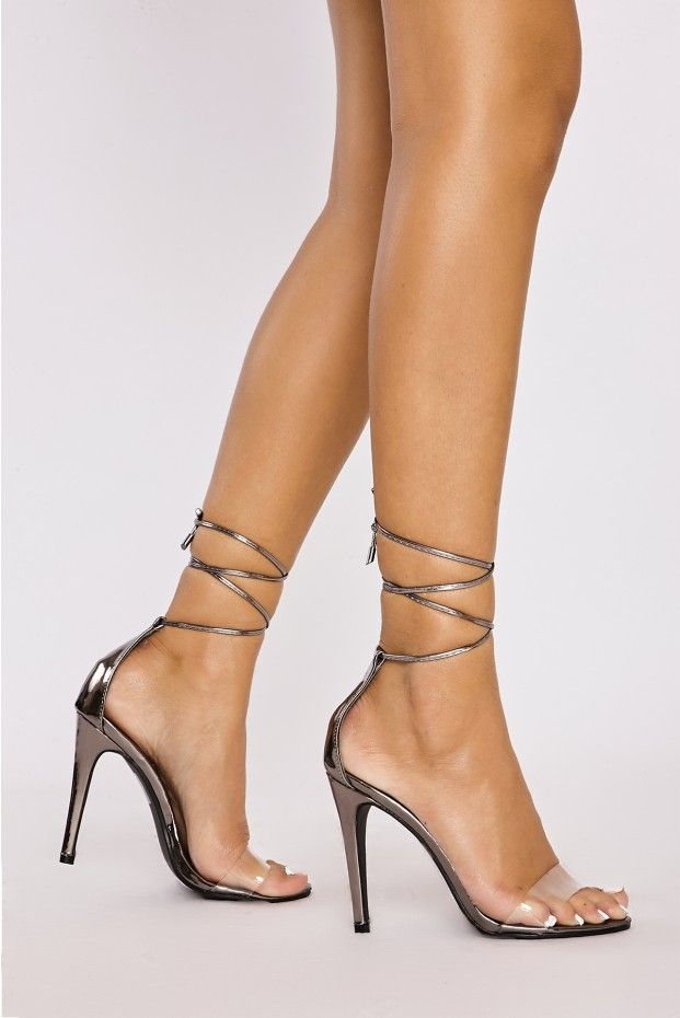 13271f614727fe ALICIA DARK SILVER CHROME CLEAR STRAP TIE LEG HEELS