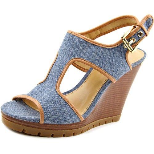 33945a5a5e9 Michael Michael Kors Gillian Mid Wedge Women US 10 Blue Wedge Sandal ...