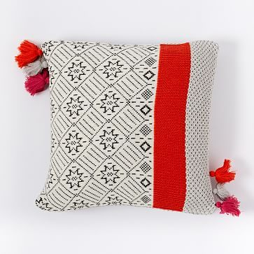 "Fair Isle Stripes Pillow Cover, 18""x18"", Frost Gray 