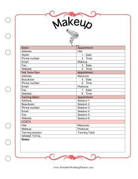 The Wedding Planner Makeup Template Covers Appointment Times