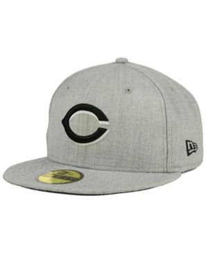 promo code 7df49 5ad89 New Era Cincinnati Reds Heather Black White 59FIFTY Fitted Cap - Gray 7 1 4