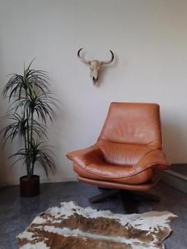 Lederen Relax Draaifauteuil.Leren Draaifauteuil Cognac Vintage Relax Stoel Retro Design