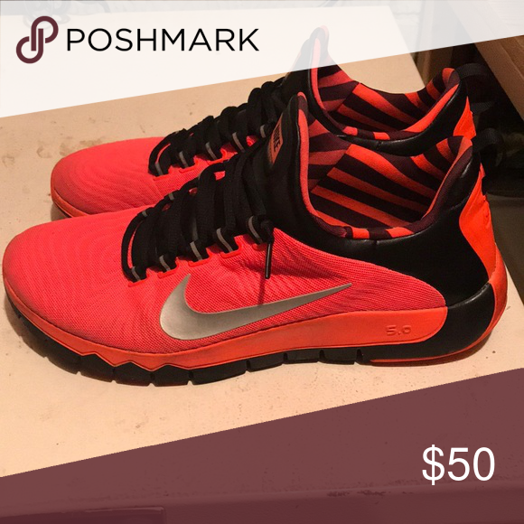 d24377cf546f Nike Free Trainer 5.0 Nike Free Trainer 5.0 bright orange with black and  silver Nike Shoes Sneakers