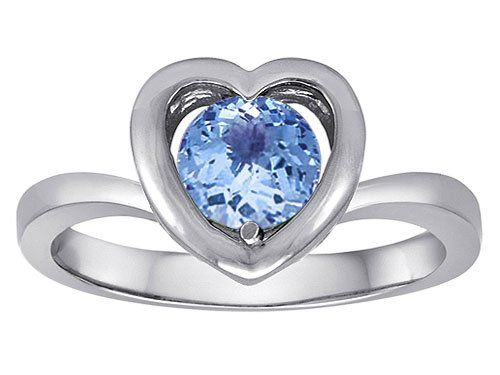 Original Star K(tm) Heart Engagement Promise of Love Ring with 7mm Round Simulated Aquamarine