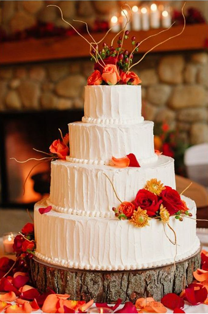 32 Orange Yellow Fall Wedding Cakes With Maple Leaves Pumpkins