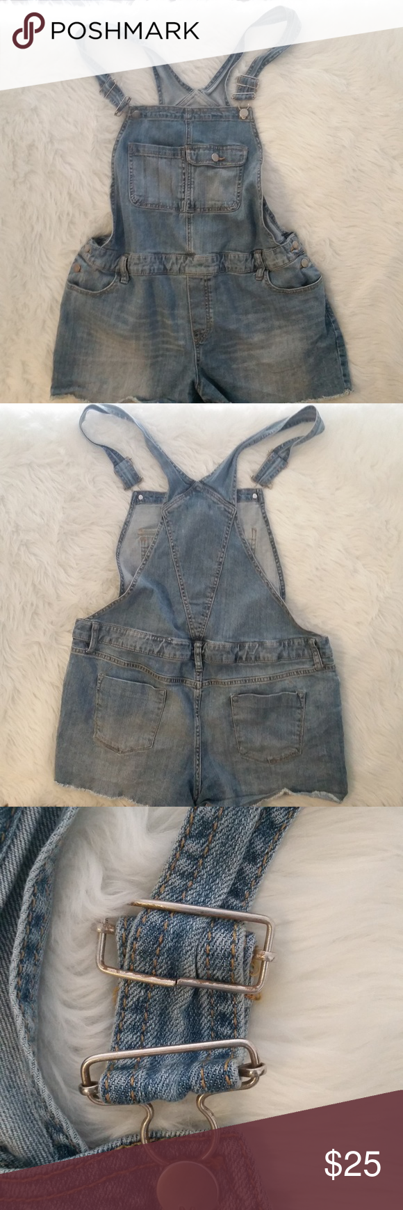 00f141fdb18 Mossimo Denim Plus Size XXL Overalls Shorts   Hardwear has a crack but it  does not affect the garments functionality   Close up pic provided Mossimo  Plus ...