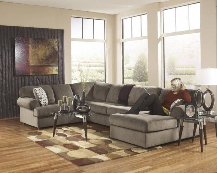 Living Room Sectional 3pcs in Dune Contemporary Right Facing Ashley