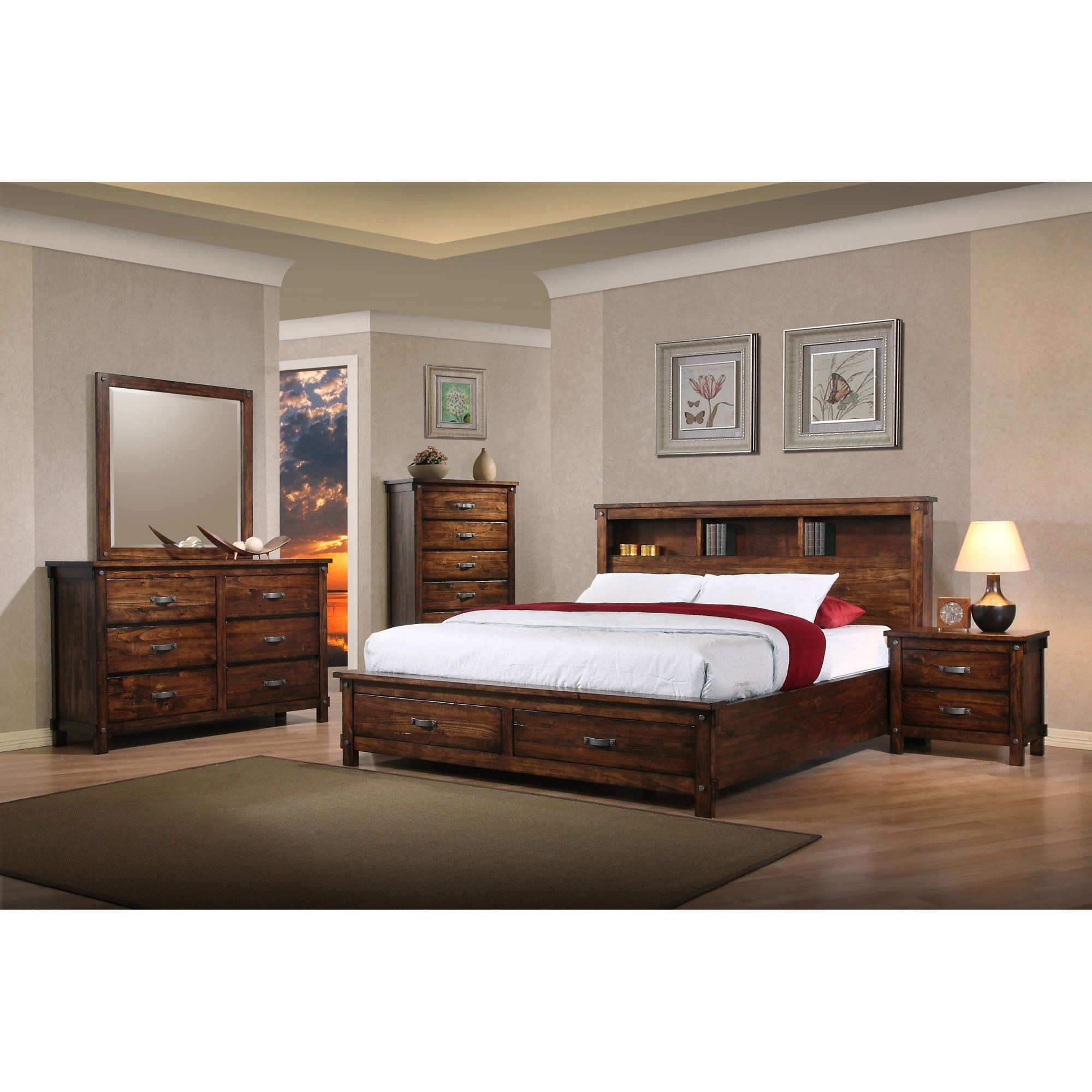 Rustic Classic Brown 4 Piece King Bedroom Set Jessie With Images Italian Bedroom Furniture King Bedroom Furniture Bedroom Set