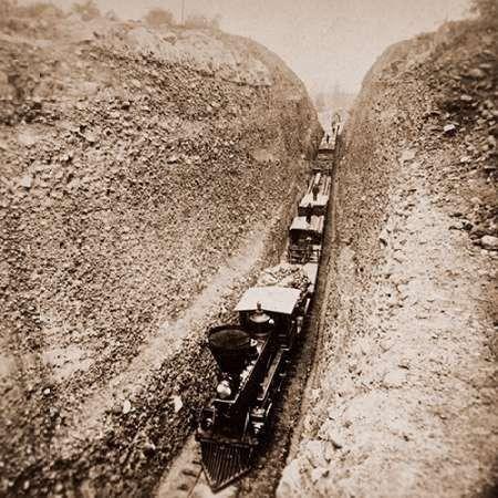 Bloomer Cut near Auburn, California, 800 feet long and 63 feet high, 1866-1869