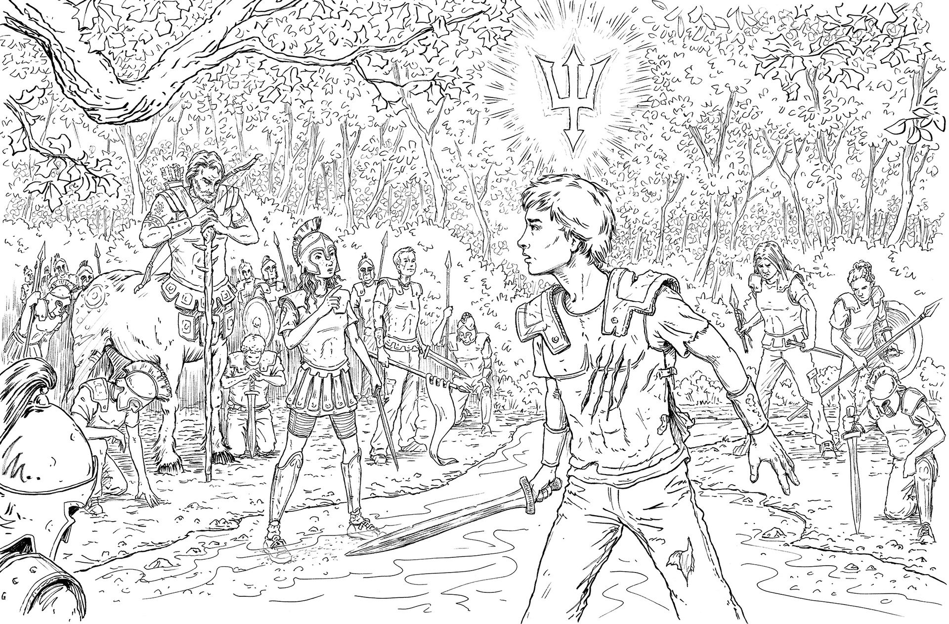 Image Result For Percy Jackson Art Black And White