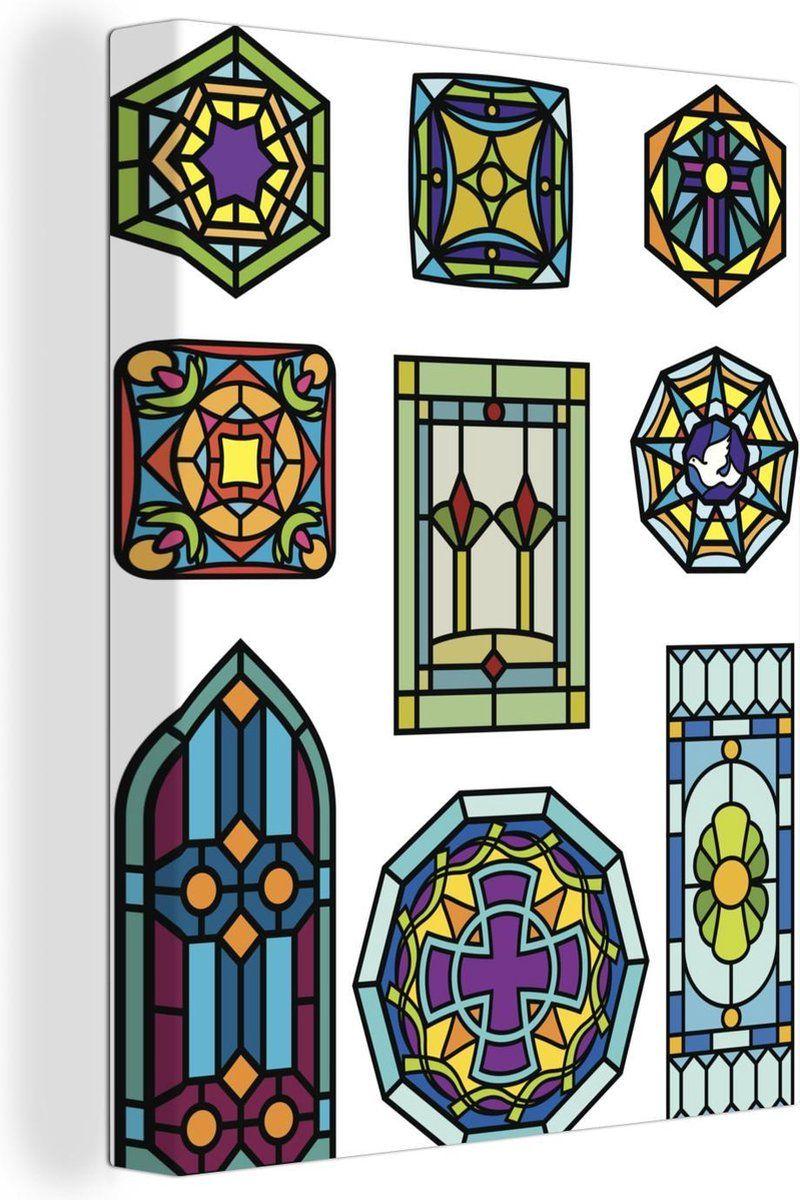 Canvas Schilderijen Verschillende Ontwerpen Van Gekleurd Glas 120x160 Cm In 2021 Glas In Lood Vogels Gekleurd Glas Illustratie