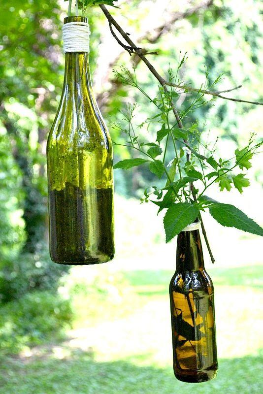 DIY #wine plant holder. #garden #diy
