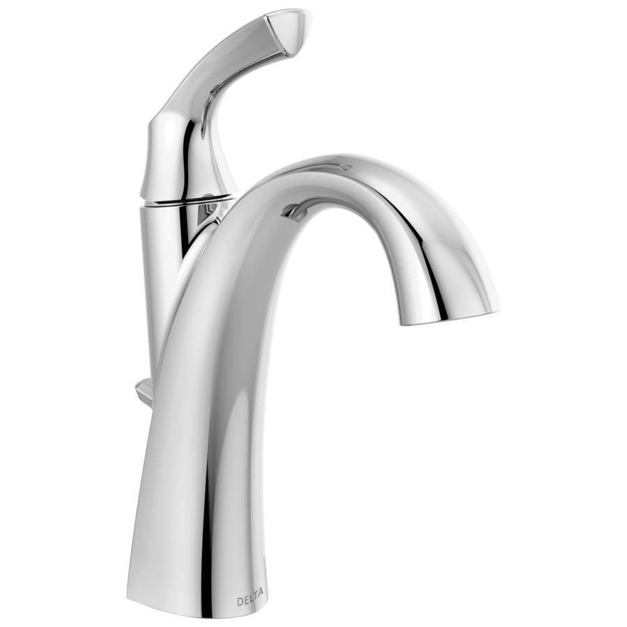 Delta Sandover Chrome 1 Handle 4 In Centerset Watersense Bathroom Sink Faucet With Drain And Deck Plate Lowes Com Sink Faucets Water Sense Delta Faucets Chrome single handle bathroom faucet