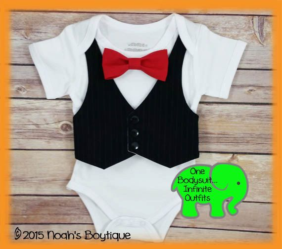 ce7accc7d86 First Birthday Boy - Wedding Outfit Newborn Boy - Black Vest Red Bow Tie - Baby  Tuxedo - Infant Tux - Formal Outfit - Baby Boy Clothes by Noah s Boytique