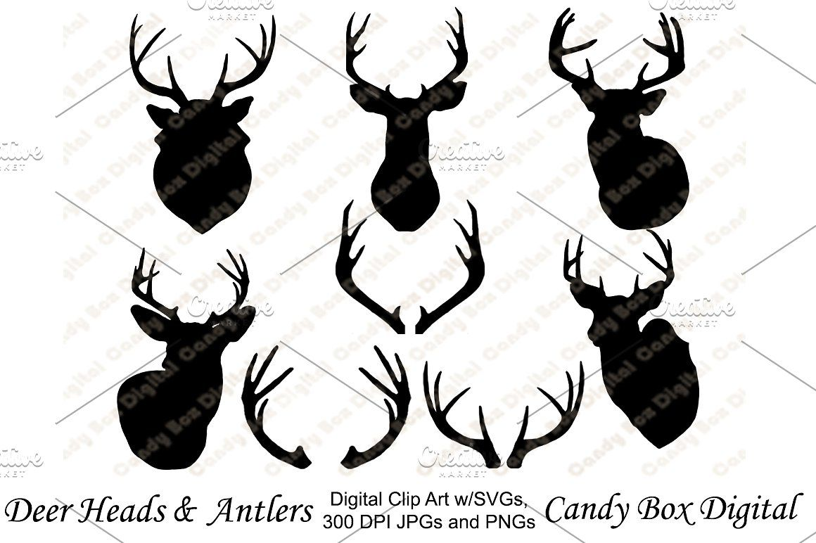 Deer and Antler Silhouettes with SVG Illustrations (ad