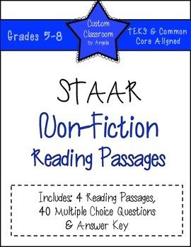 STAAR Non-Fiction Reading Passage Practice | Middle school ...