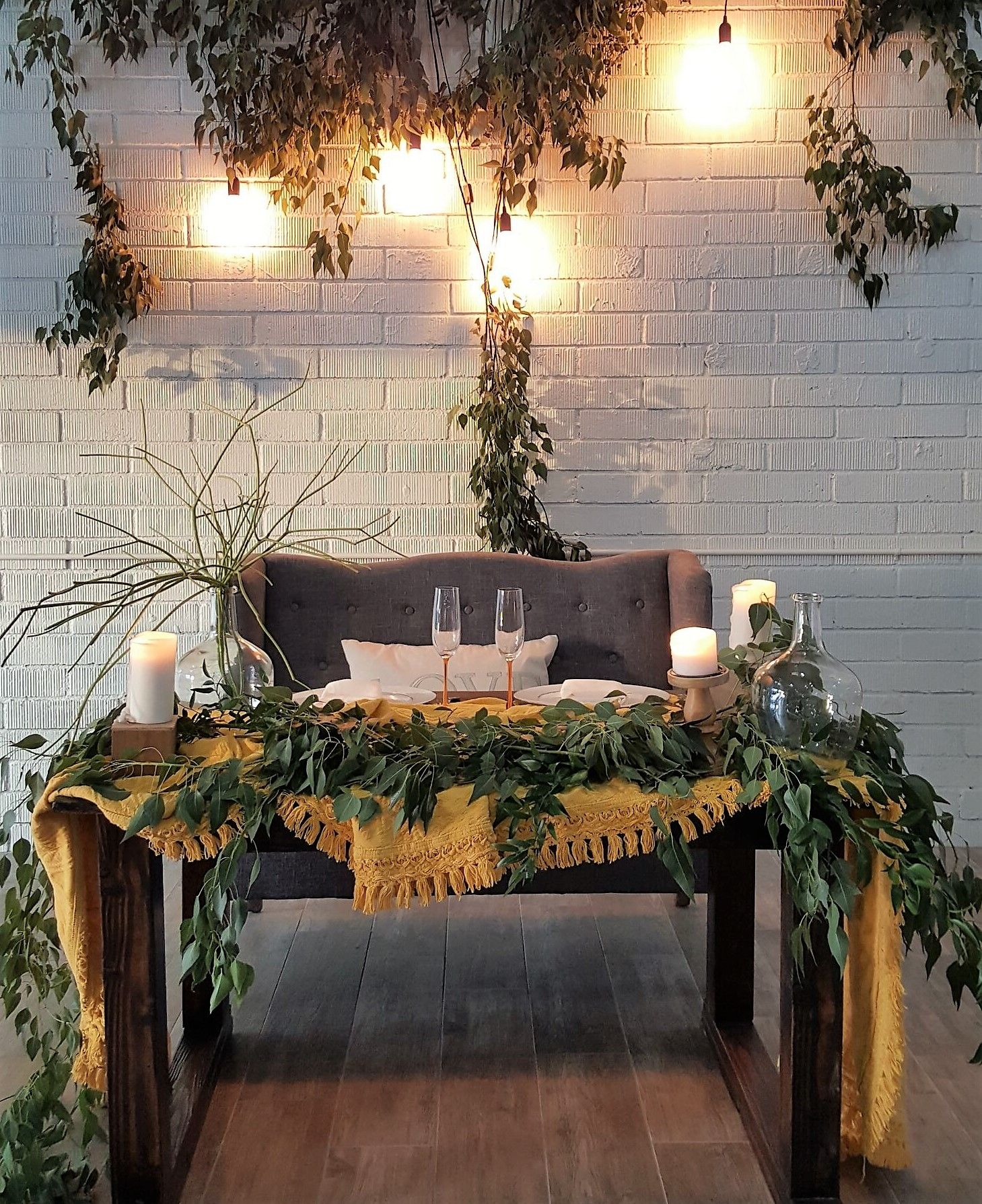 Love this sweetheart table set up. the dove gray loveseat