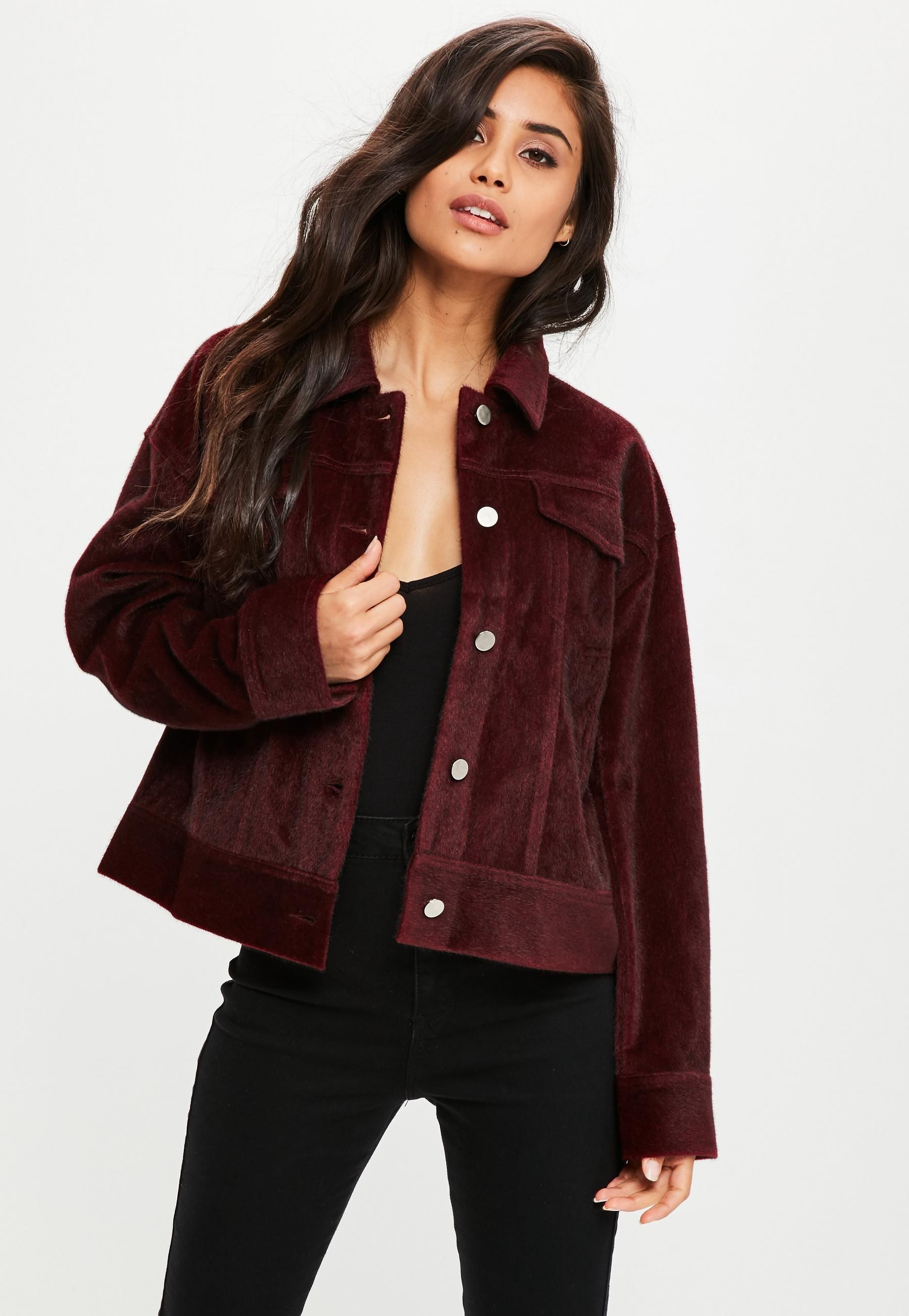 Burgundy Faux Pony Hair Trucker Jacket Missguided in