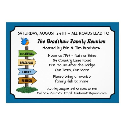 Funny Bluebird Family Reunion Invitation  Family Reunion