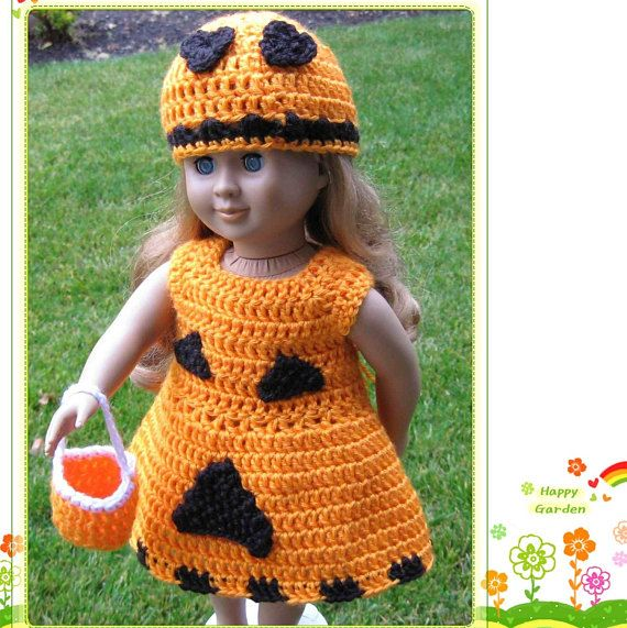 PATTERN in PDF -- Crocheted doll dress for American Girl, Gotz or similar 18 inches dolls -- Halloween dress -- Doll Dress 11 #dolldresspatterns