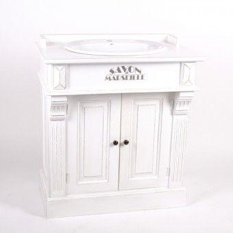 Weißer Waschtisch Im Landhausstil. Bad Einzelwaschtisch Mit Zwei Türen.    Badmöbel   Landhaus