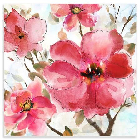Gallery Watercolour Pink Flowers, 80 x 80 cm