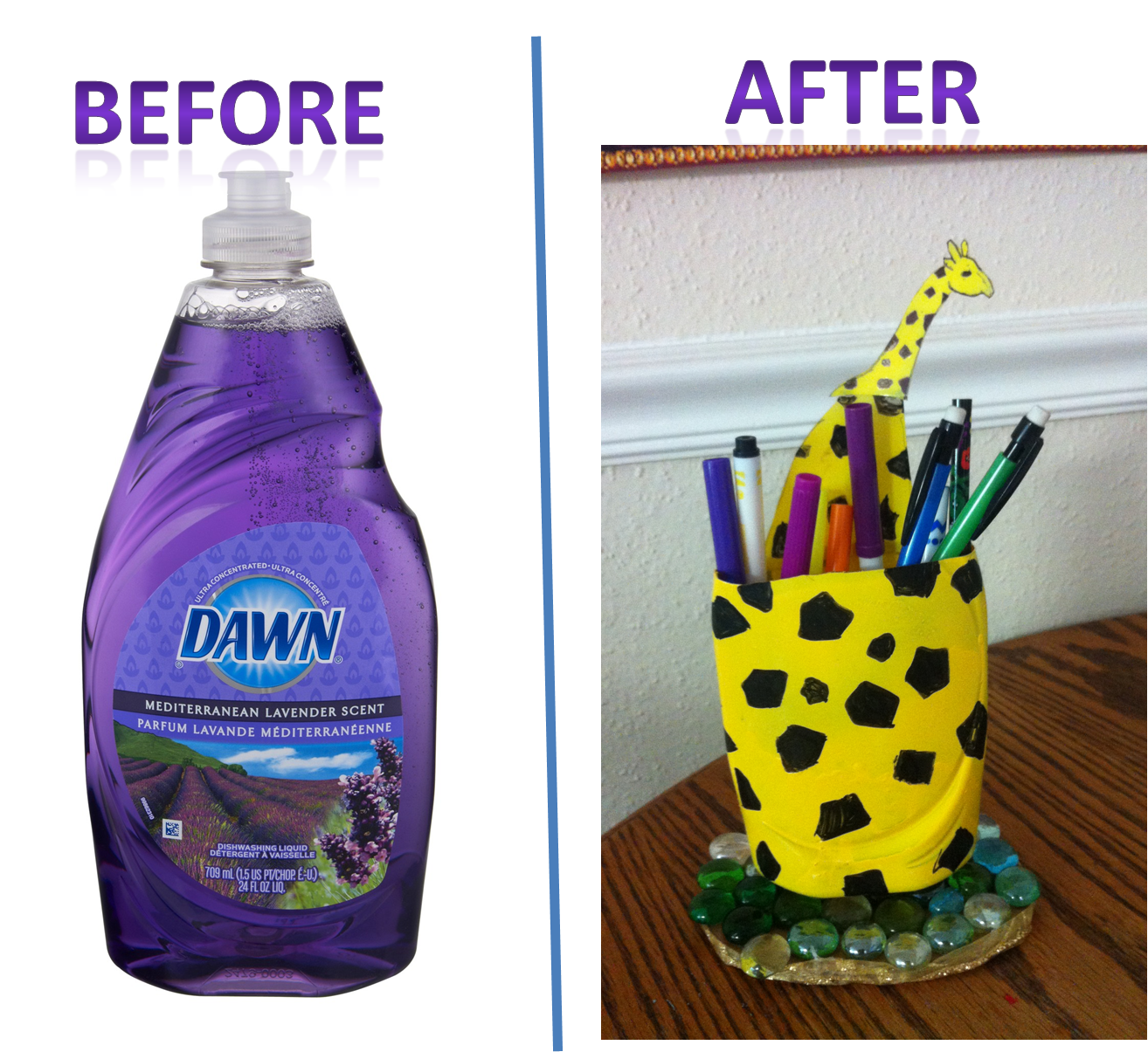 Giraffe Pen holder with dish cleaner plastic bottle DIY | Crafts ... for Diy Plastic Bottle Pen Holder  75tgx