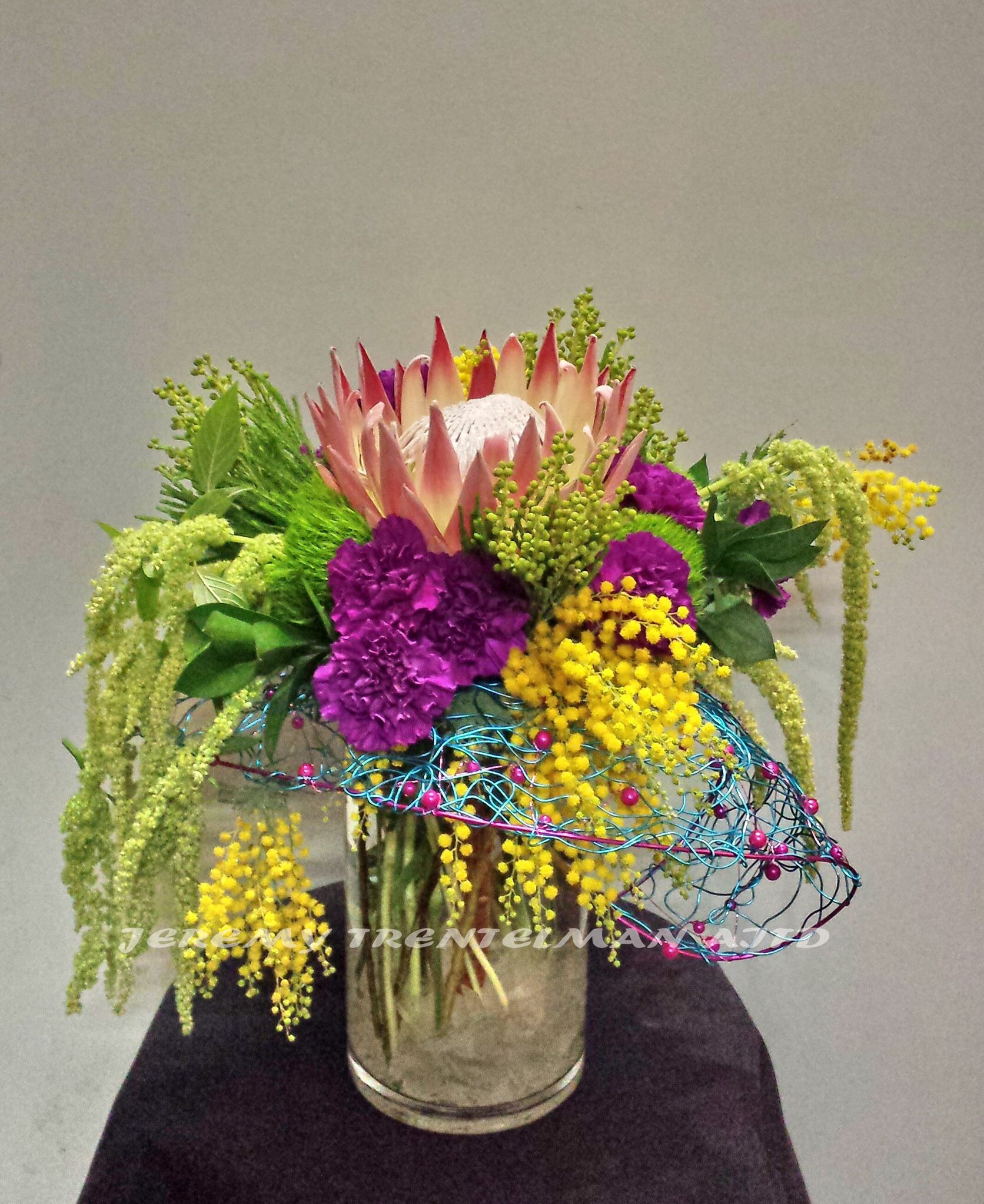 King Protea Hanging Amaranthus Carnations Bresalia Acacia And Decorative Wire Armature Tall Flower Arrangements Flower Arrangements Tall Flowers